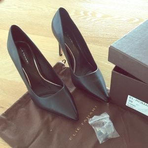 Tahiti black leather pumps, run small